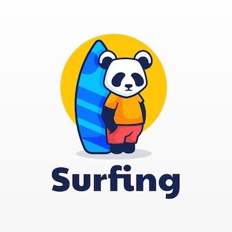 Logo panda mascotte cartoon stijl.