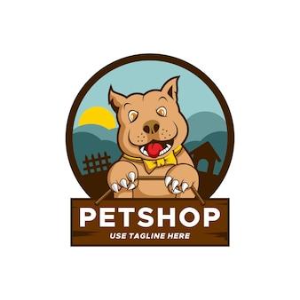 Logo petshop pitbull hond premium vector