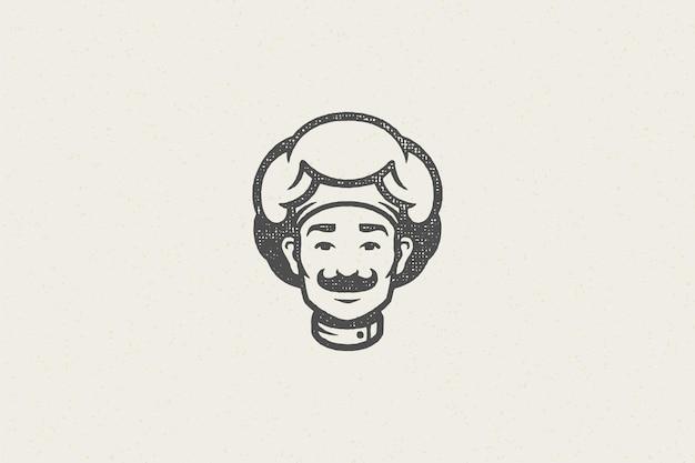 Logo pictogram hoofd van lachende mannelijke kok silhouet in chef-kok hoed hand getekend stempel effect