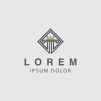 Logo pijler en kroon concept
