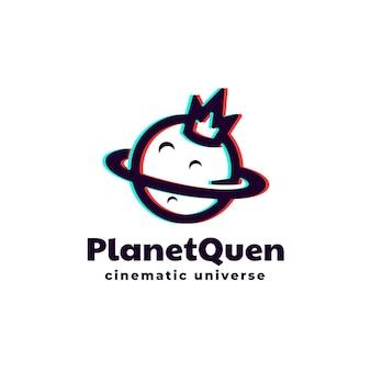 Logo planeet koningin silhouetstijl