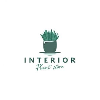 Logo-planten in potten voor ruimtedecoratie