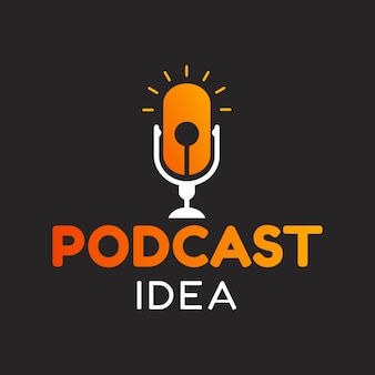 Logo podcast met idee, gloeilamp
