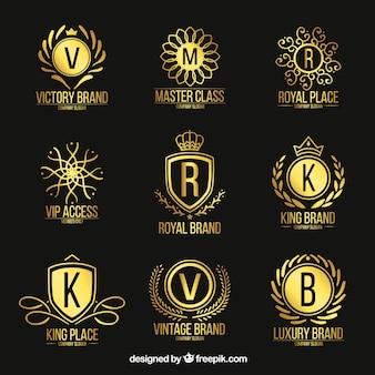 Logo's collectie met vintage en luxe stijl