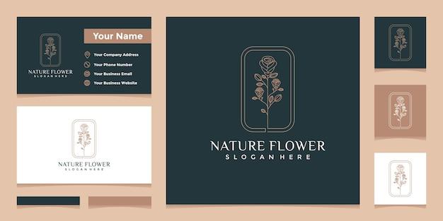 Logo's met elegante natuurlijke bloemenlijnkunststijl en visitekaartjeontwerp