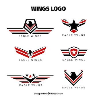 Logo's van badges met vleugelverzameling