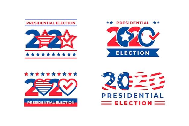 Logo's van de presidentsverkiezingen van 2020 in de vs.