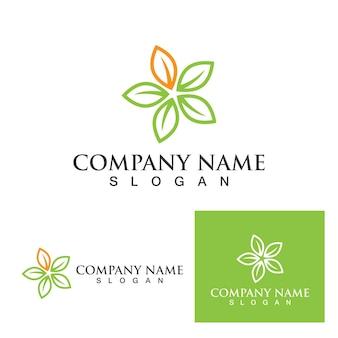 Logo's van groene boom blad ecologie natuur element vector