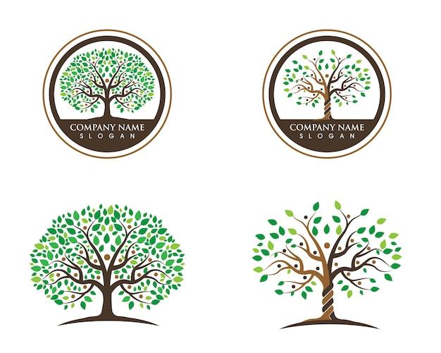 Logo's van groene boomblad ecologie
