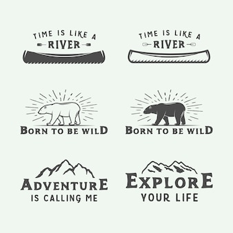Logo's voor kamperen buiten en avontuur