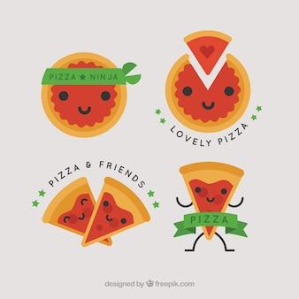 Logo's voor pizza met groene linten