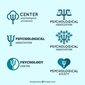 Logo's voor psychologische centra in blauwe tinten
