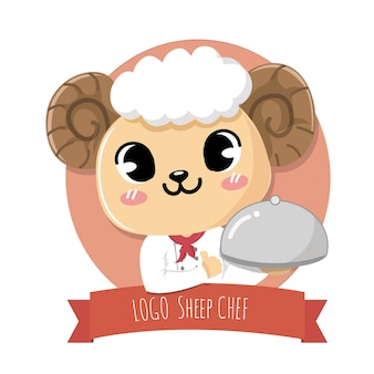 Logo schapen chef-kok schattig.