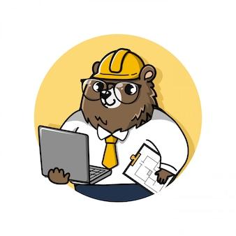 Logo schattige en vriendelijke beer-ingenieur heeft een laptopcomputer en tekendocumenten.