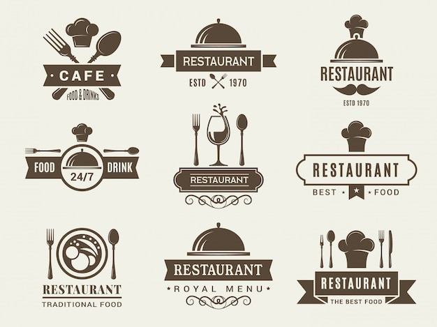 Logo set en badges voor restaurant