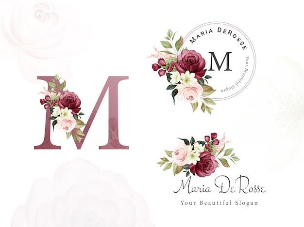 Logo set van bordeaux en perzik aquarel bloemen voor de eerste m, rond en horizontaal. premade bloemen badge, monogram