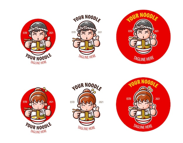 Logo sets voor japans noodle restaurant of winkel or