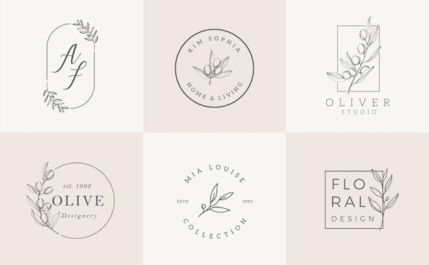 Logo-sjablonen ingesteld. elegant logoontwerp met bladeren, tak en kroon