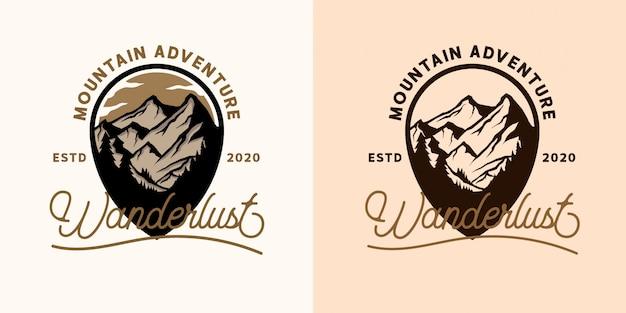 Logo-sjablonen voor bergavontuur