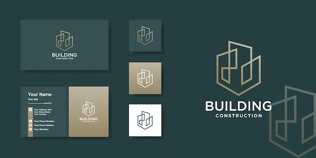 Logo sjabloon bouwen met creatief gouden lijnkunstconcept Premium Vector
