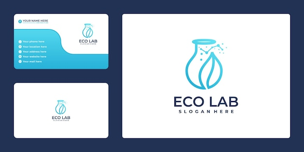 Logo sjabloon en visitekaartje voor laboratoriumbladtechnologie