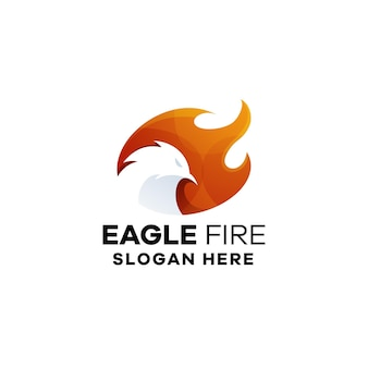 Logo sjabloon met adelaar vuurverloop
