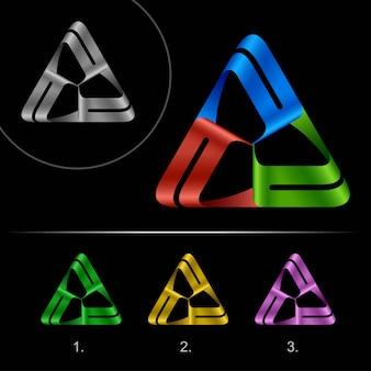 Logo sjabloon met driehoekige lus, oneindig logo met hi-tech lus.
