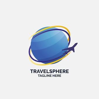 Logo sjabloon met globe en vliegtuig reizen