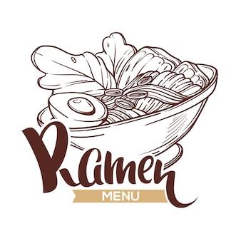 Logo sjabloon met kom vol met noodle schets