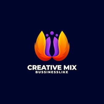 Logo sjabloon van creatieve mix kleurverloop kleurrijke stijl
