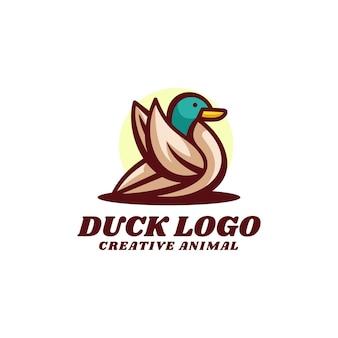 Logo sjabloon van duck simple mascot style