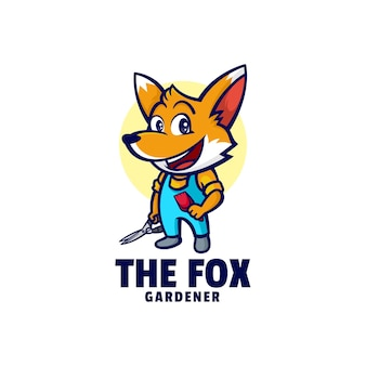 Logo sjabloon van fox gardener mascotte cartoon stijl