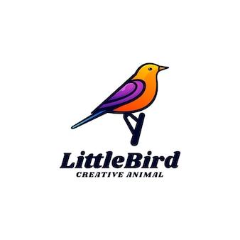 Logo sjabloon van kleine vogel kleurovergang kleurrijke stijl.