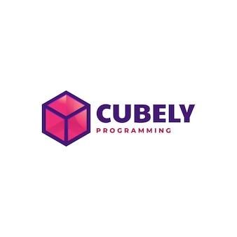 Logo sjabloon van kubus eenvoudige mascotte stijl.