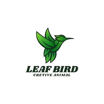 Logo sjabloon van leaf bird simple mascot style