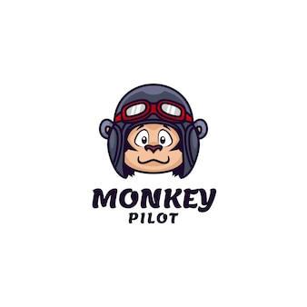 Logo sjabloon van monkey pilot simple mascot style