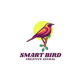 Logo sjabloon van slimme vogel eenvoudige mascotte stijl.