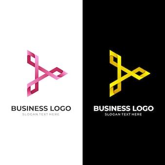 Logo-sjabloon voor afspeelknop met 3d-stijl voor rode en gele kleuren