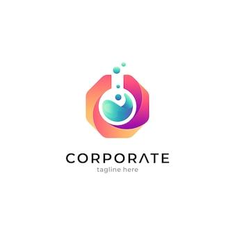 Logo sjabloon voor laboratoriumonderzoek met gradiëntkleuren