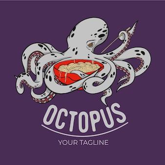 Logo sjabloon voor octopus en noedels