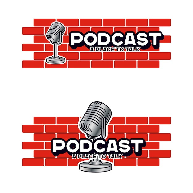 Logo sjabloon voor podcast talk-personage