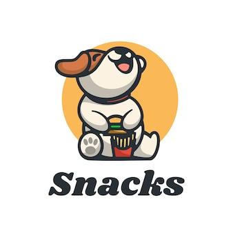 Logo snacks eenvoudige mascotte stijl.
