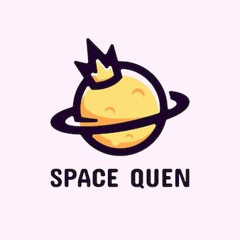 Logo space queen eenvoudige mascotte stijl.