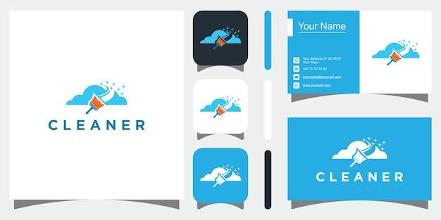 Logo-stijl schoonmaken premium vector