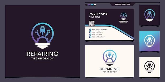 Logo-technologie voor reparatieuitrusting met gloeilampconcept en visitekaartjeontwerp premium vector