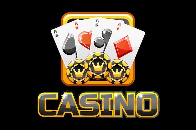 Logo tekst casino en pictogram op zwarte achtergrond, voor ui-spel