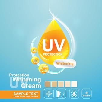 Logo uv-bescherming voor poster huidverzorgingsproducten sjabloon.