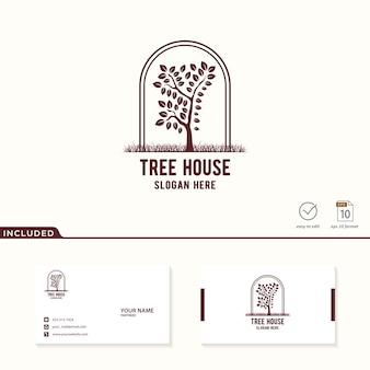 Logo van boom inbegrepen visitekaartje