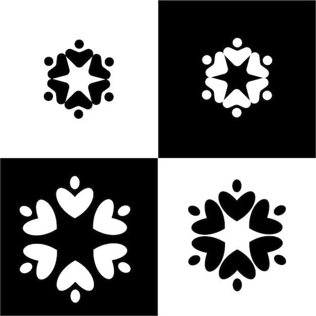 Logo van de cirkel van de verenigde gemeenschap. mensen samenbrengen, verenigde gemeenschap, concept van gelijkheid van mensen. zwart en wit. vector illustratie