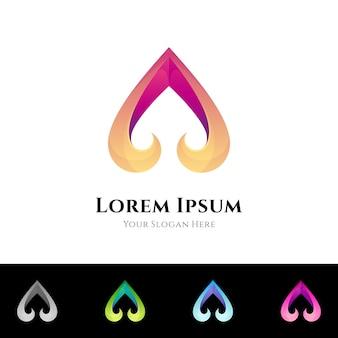 Logo van de eerste letter a van de schoppen